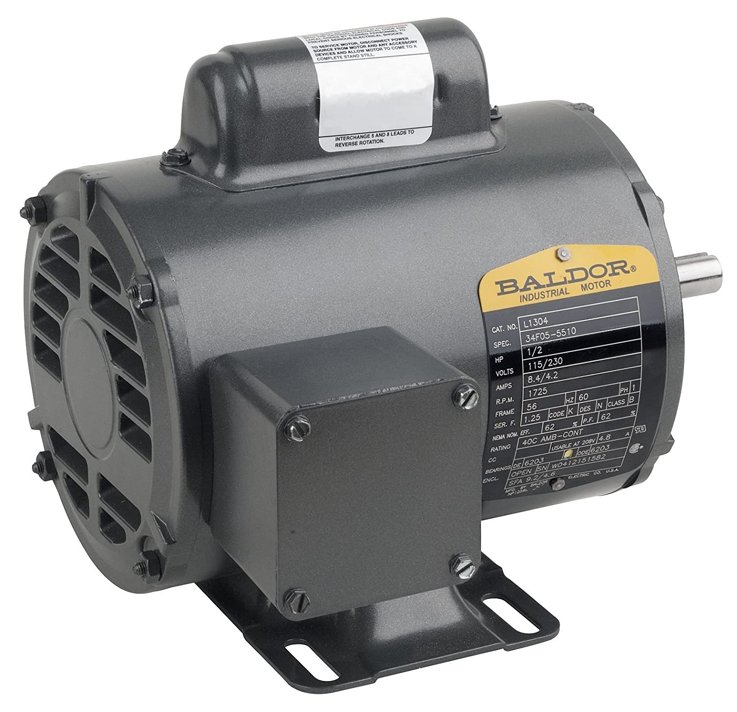 F1 BALDOR M3538//35 56 Frames TEFC 3511M 3 Phase Enclosed Motors 3PH N 1740 RPM 0.5 hp 60 Hz