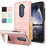 ZTE ZMAX Pro Z981 Case, ZTE Carry Case,ZTE Imperial Max Z963U / Max Duo LTE Case with HD Screen Protector,AnoKe[Card Slots Wallet Holder]Kickstand Shockproof Case For ZTE ZMAX Pro KC1 Rose Gold
