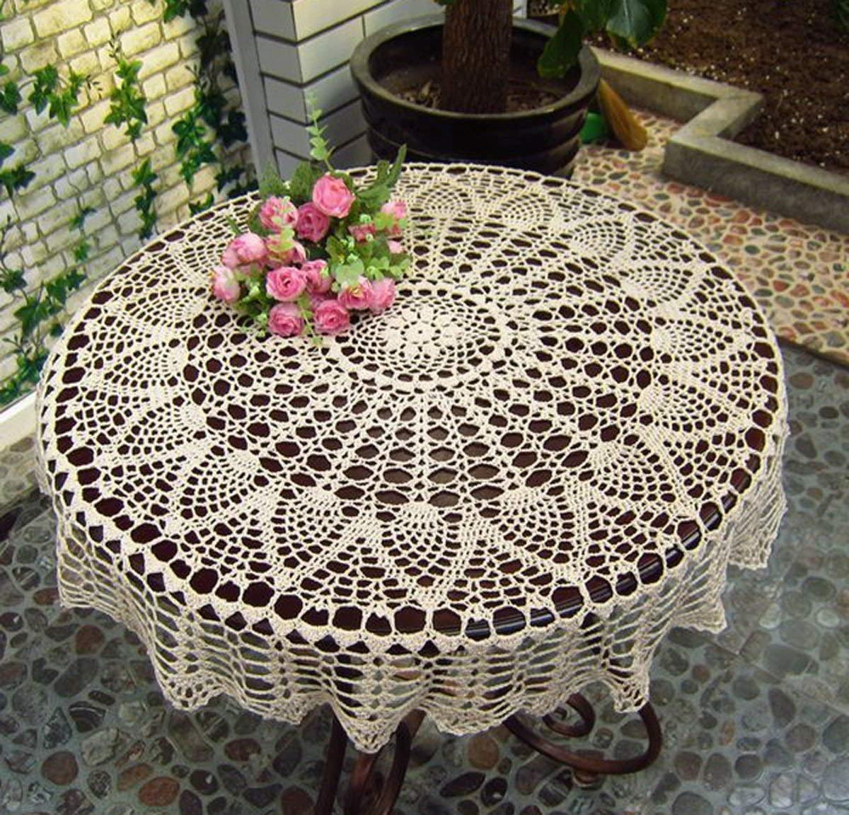 Amazon Ustide Handmade Crochet Cotton Tablecloth Round Beige
