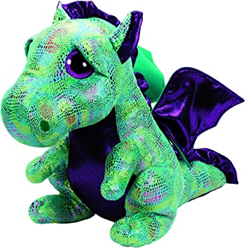 Ty - Beanie Boos Cinder, dragón, 40 cm, Color Verde (United Labels