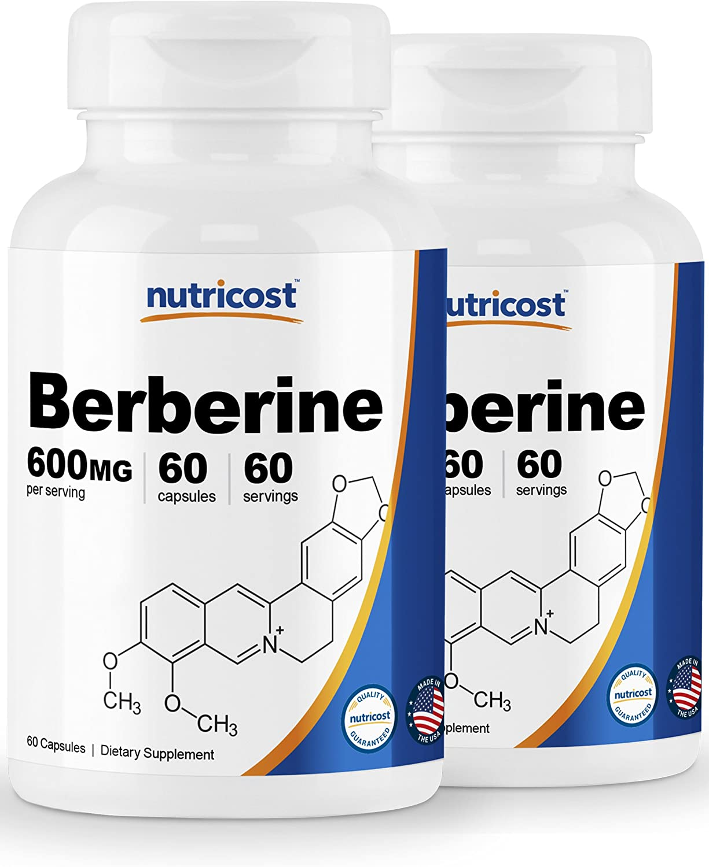 Nutricost Berberine HCl 600mg, 60 Caps 2 Bottles – Gluten Free, Veggie Caps, Non-GMO