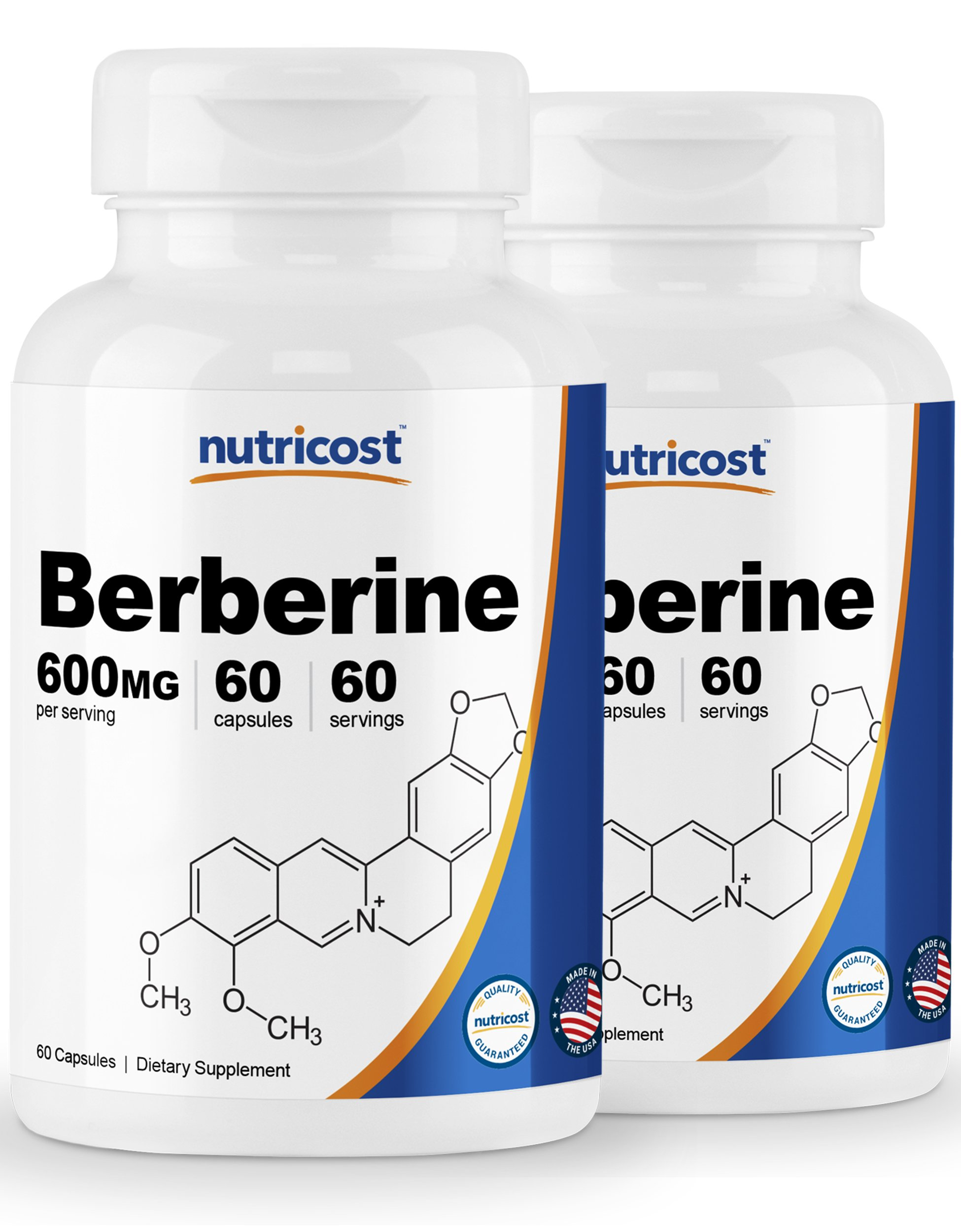 Nutricost Berberine HCl 600mg, 60 Caps (2 Bottles) - Gluten Free, Veggie Caps, Non-GMO