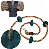Jungle Gym Kingdom Rope Swing - Tree Climbing Ropes & Disc Swings for Kids w/ Green Seat for Swinging – Outdoor Playground Se