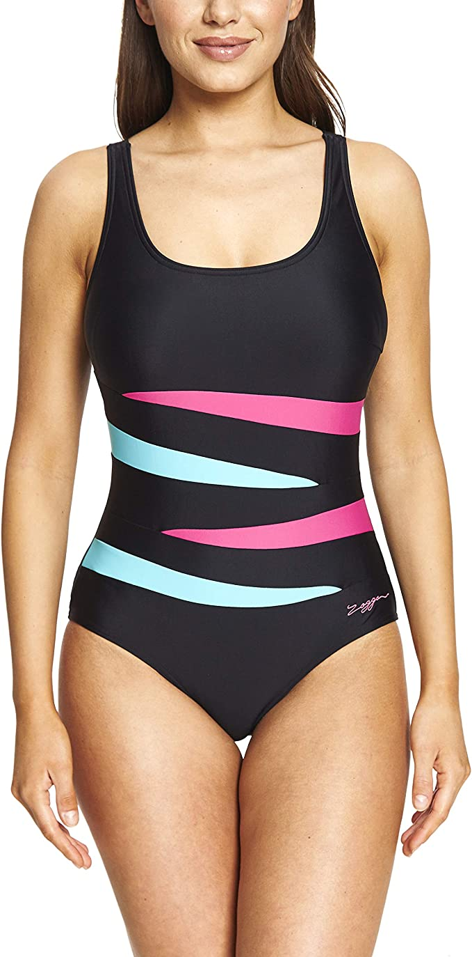 Zoggs Women's Adjustable Strap Scoopback Eco Fabric One Piece Swimsuit with Tummy Control