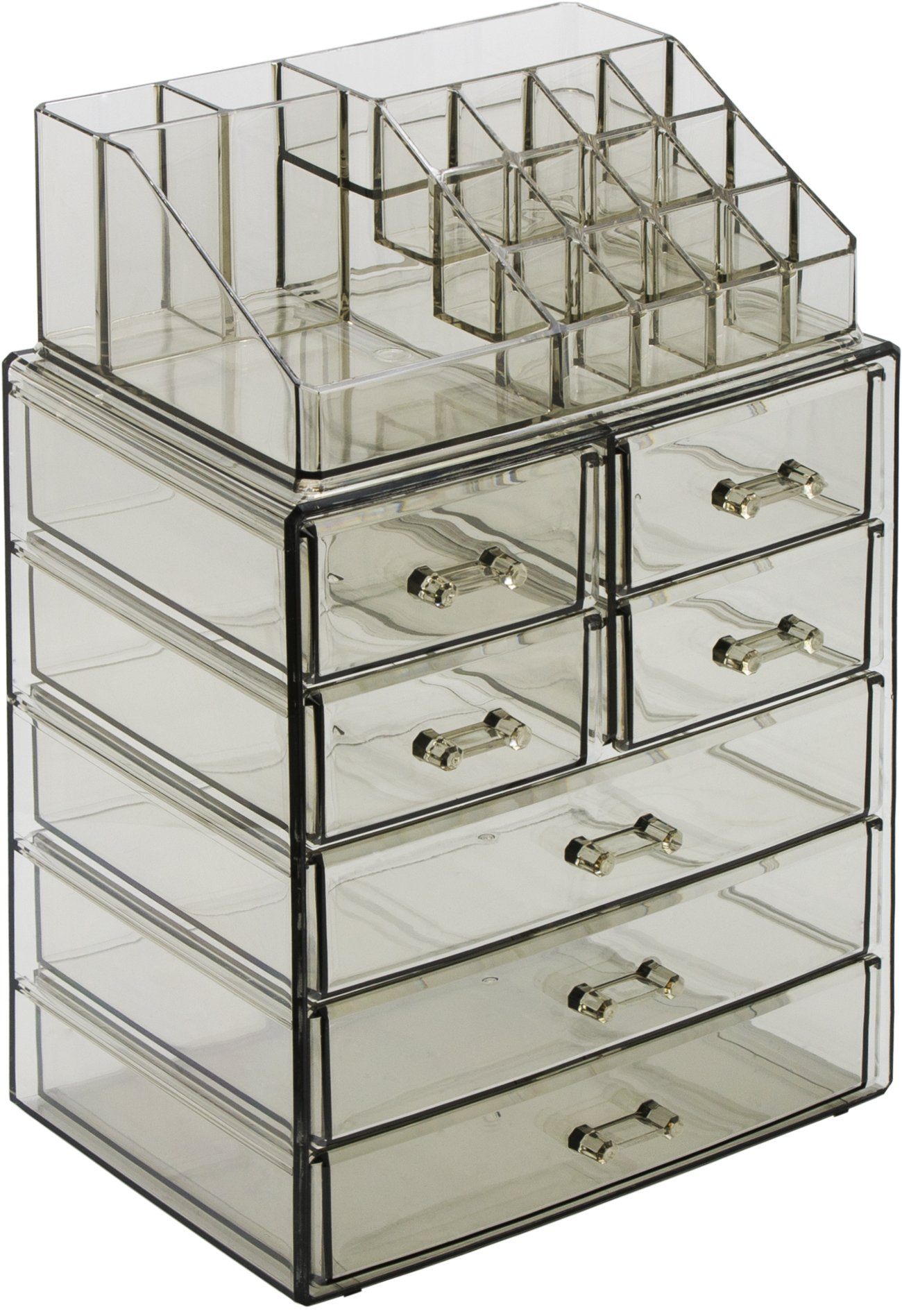 Sorbus Acrylic Cosmetic Makeup and Jewelry Storage Case Display - Spacious Design - Great for Bathroom, Dresser, Vanity and Countertop (3 Large, 4 Small Drawers, Black Jewel)