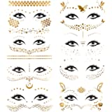 Konsait 8 Sheets Face Tattoo Sticker Metallic Temporary Transfer Tattoo Waterproof Face Jewels for Women Girls Make Up…