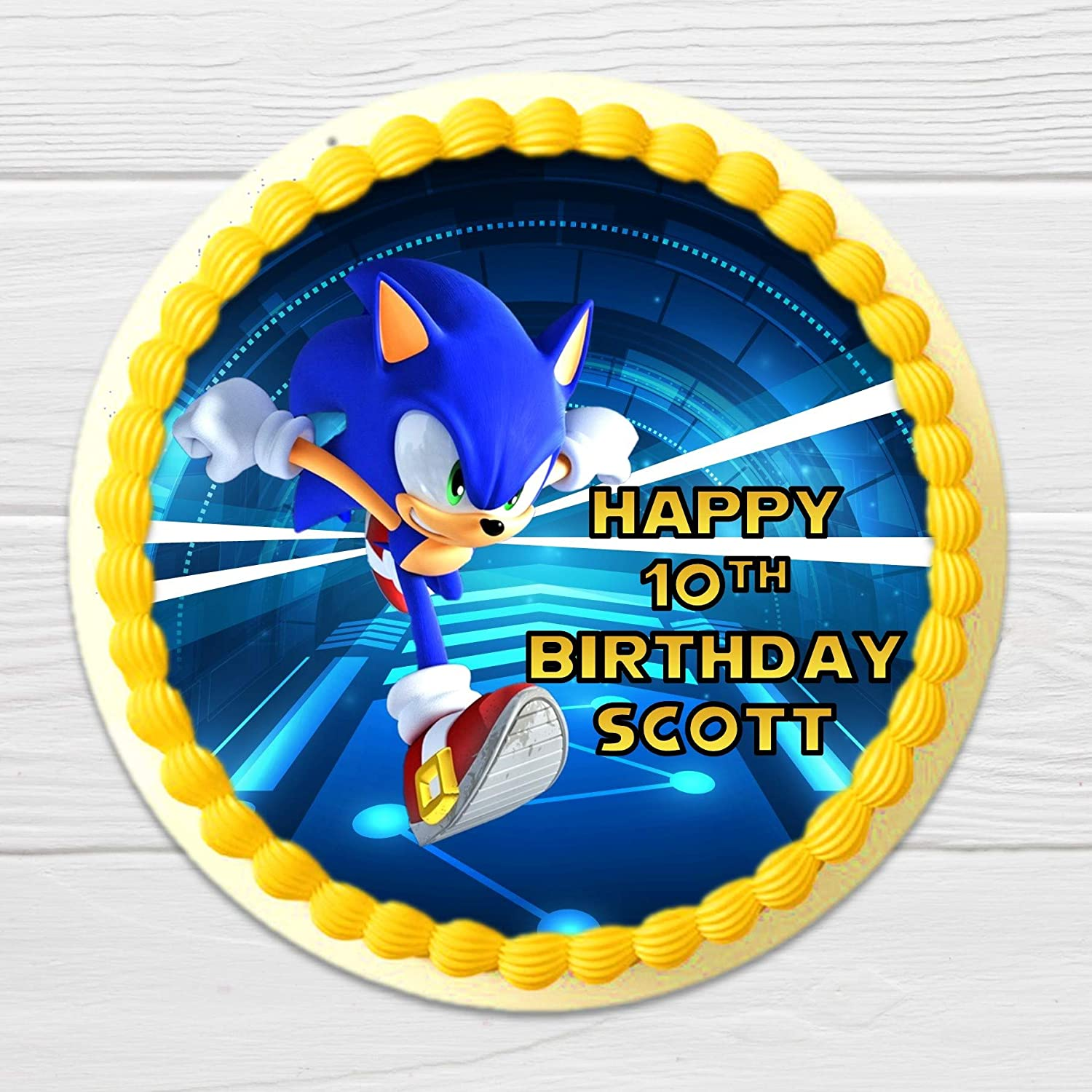 Personalized Cake Round or Rectangle Edible Image Frosting Paper Edible Sonic Birthday Cake Topper