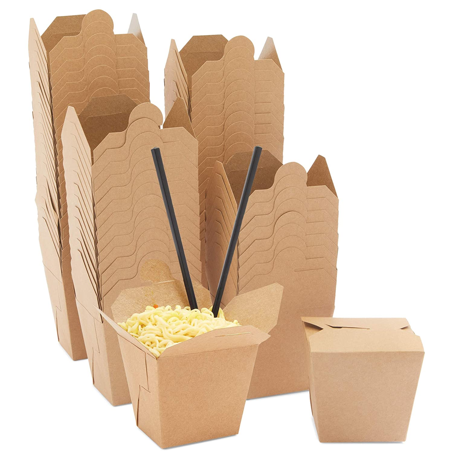 Chinese Take Out Boxes, Kraft Brown to-Go Food Containers (16 oz, 60 Pack)
