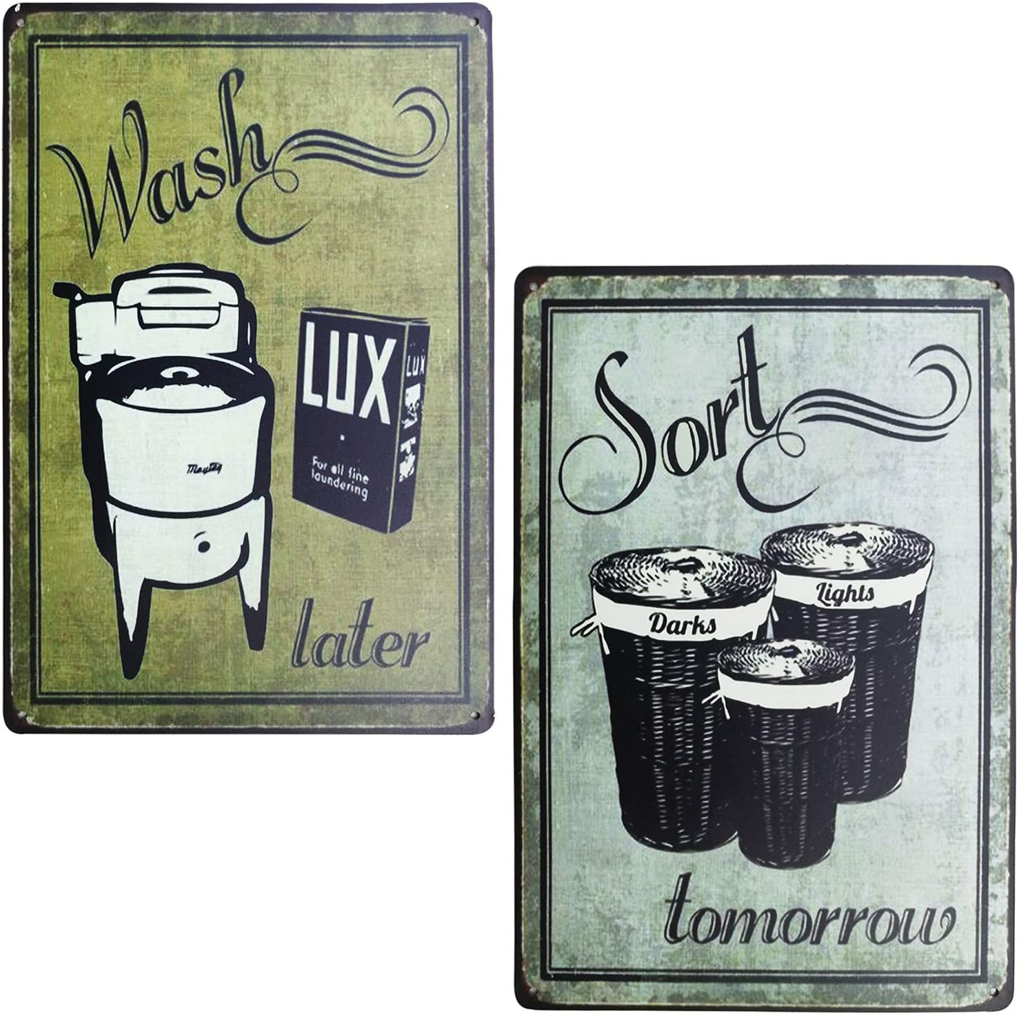 PXIYOU Wash & Sort Tin Sign Bundle Vintage Laundry Room Signs Rustic Wash Room,Bathroom Room Country Home Decor 2Pcs-8X12Inch