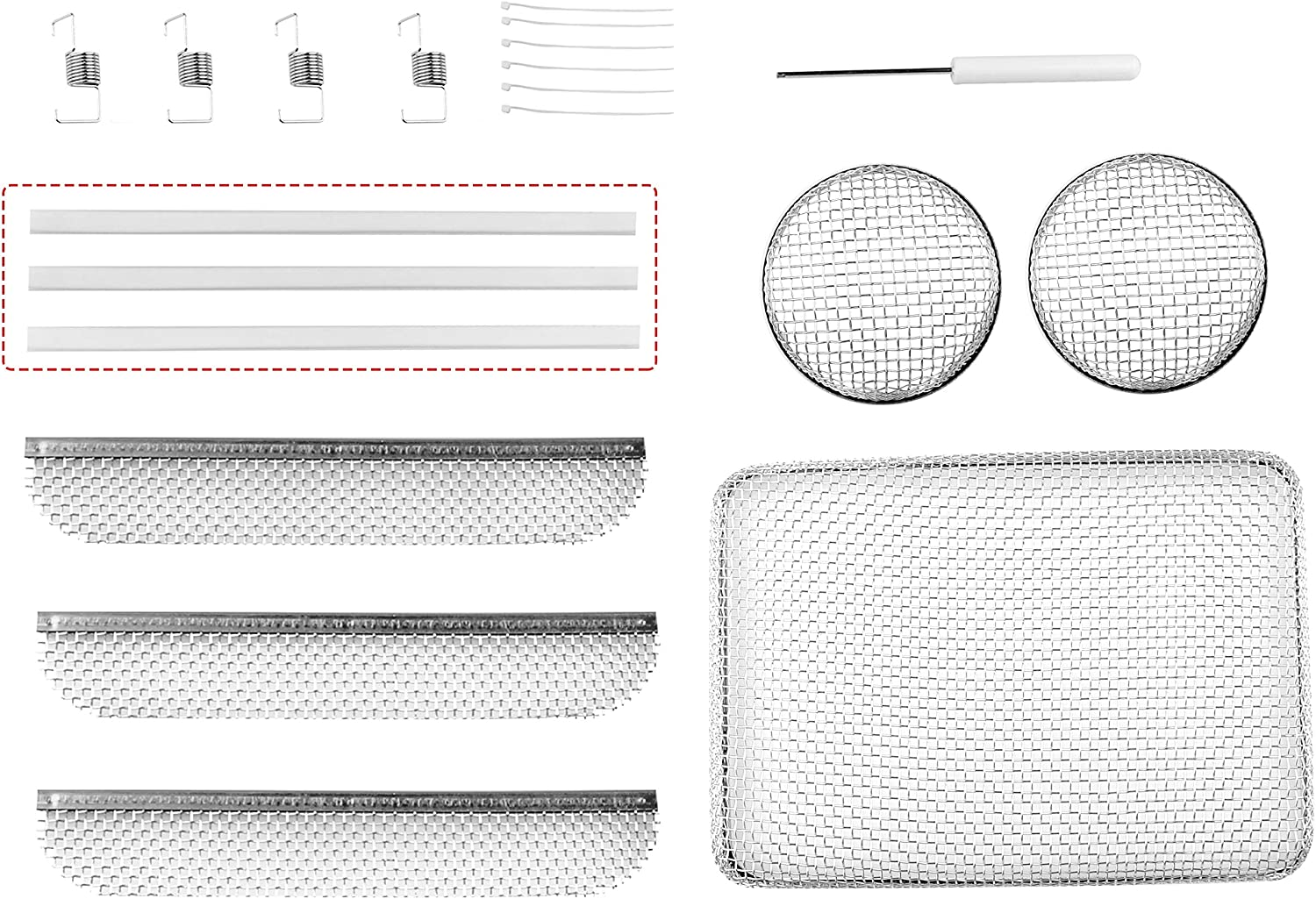 RVGUARD RV Flying Insect Screen Stainless Steel Mesh with Installation Tool and Silicone Rubber, Circular 2.8 Inch, 8.1 x 1.5 Inch, 8.5 x 6 x 1.3 Inch