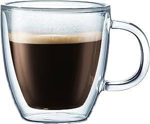 Bodum 10604-10-6US Bistro Coffee Mug, 10 Ounce (6-Pack), Clear