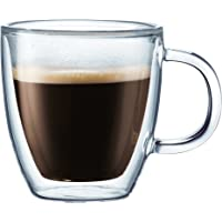 BODUM 10602-10 Bistro Double Wall Glass Mug with Handle, 0.15L, Transparent (Pack of 2)