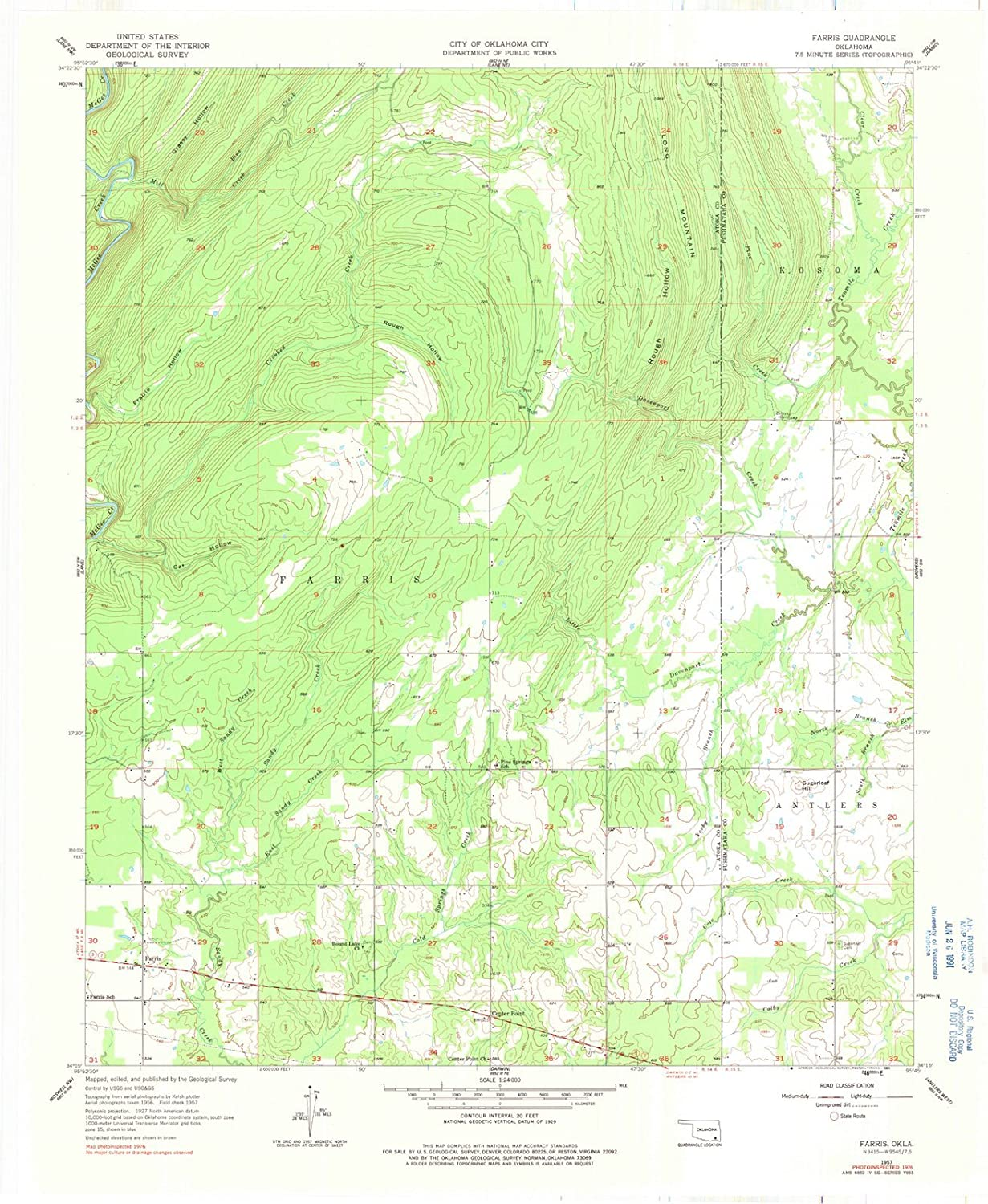 Amazon.com: Oklahoma Maps | 1957 Farris, OK USGS Historical ...