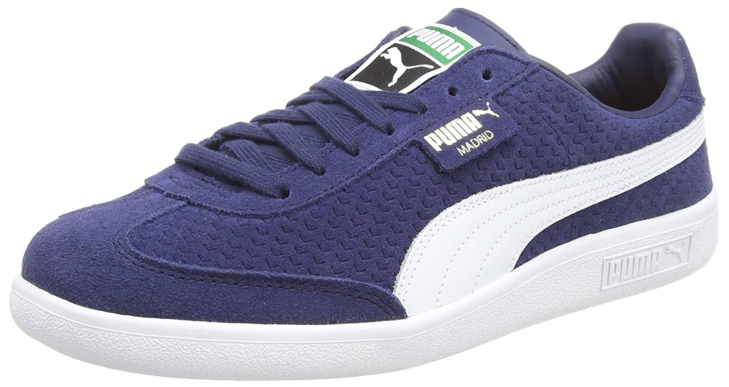 Puma Unisex-Erwachsene Madrid Perforated Suede Sneaker  40.5 EU|Blau (Peacoat-puma White-puma Team Gold)