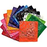 OULII Small Square Pocket Hankerchief Flower Printed Silk Kerchief for Wedding Party 10PCS
