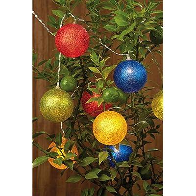 Hellum guirlande de boules - 6 cm, 3,8 m, LED blanc, 12 pièces, coloré 300345