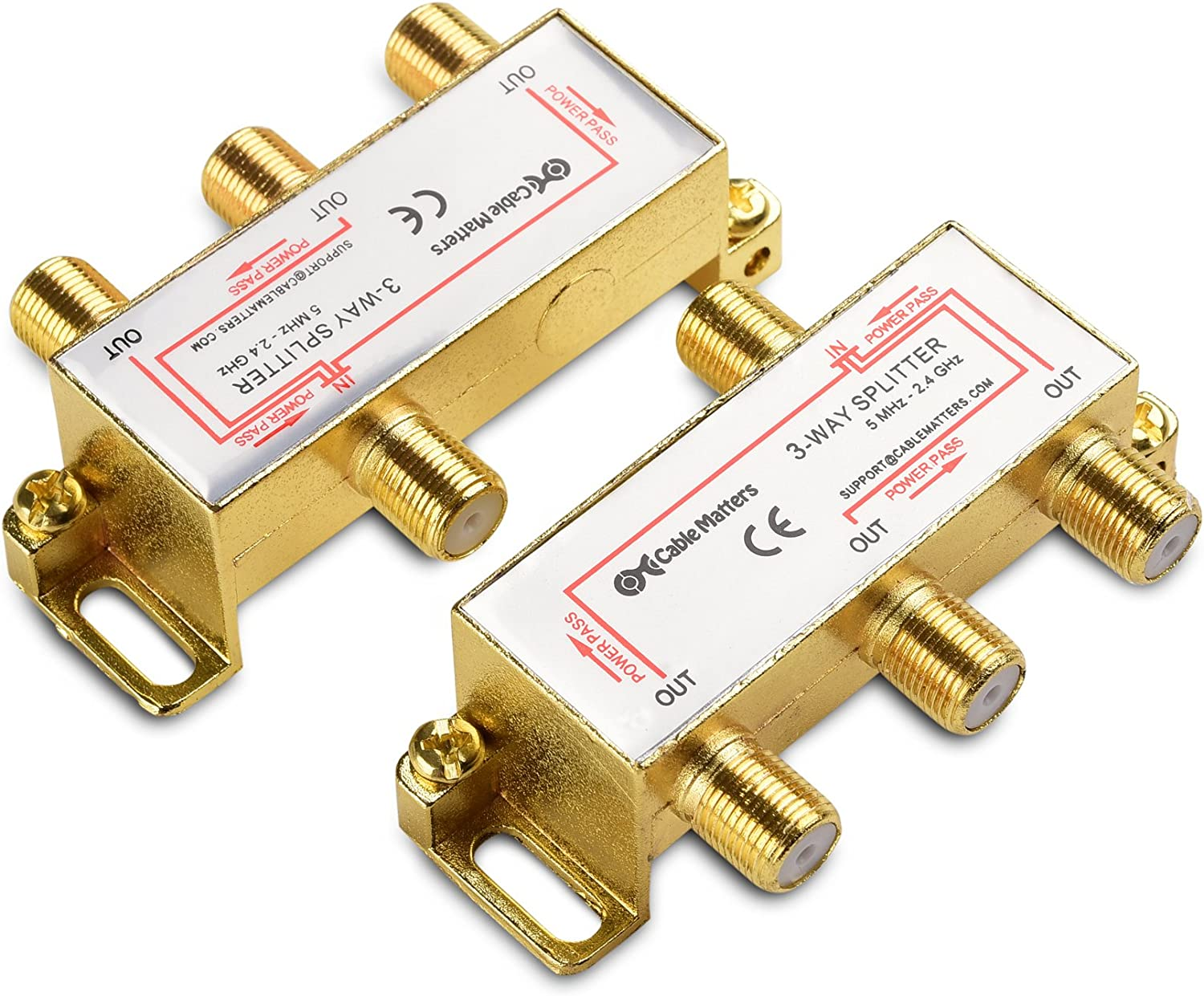 Gold Plated 3-Way 2.4 Ghz Coaxial Splitter Cable Matters 2-Pack