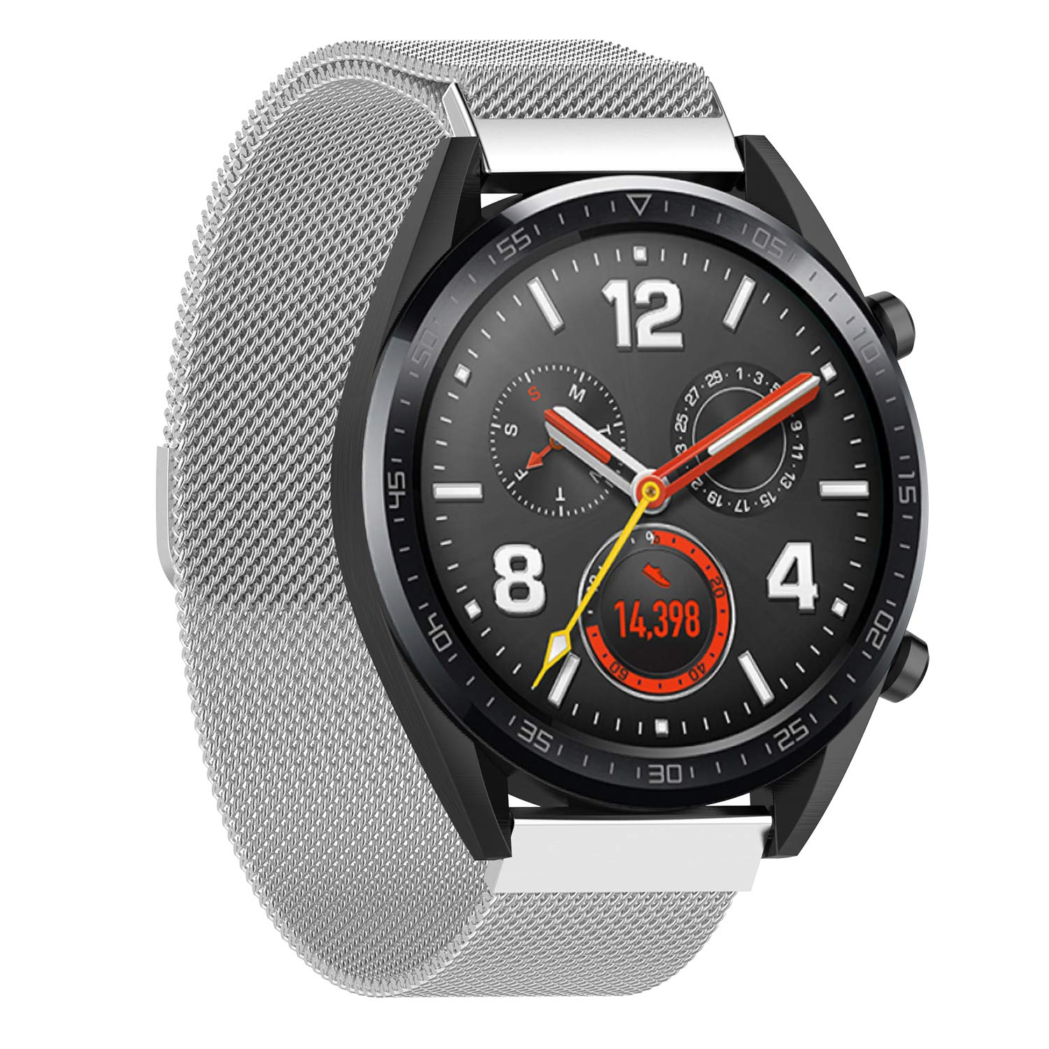 DingTool Compatible with Huawei Watch GT Bands, Stainless Steel Loop Replacement Band Strap Bracelet Accessories for Watch GT/Magic/TicWatch Pro