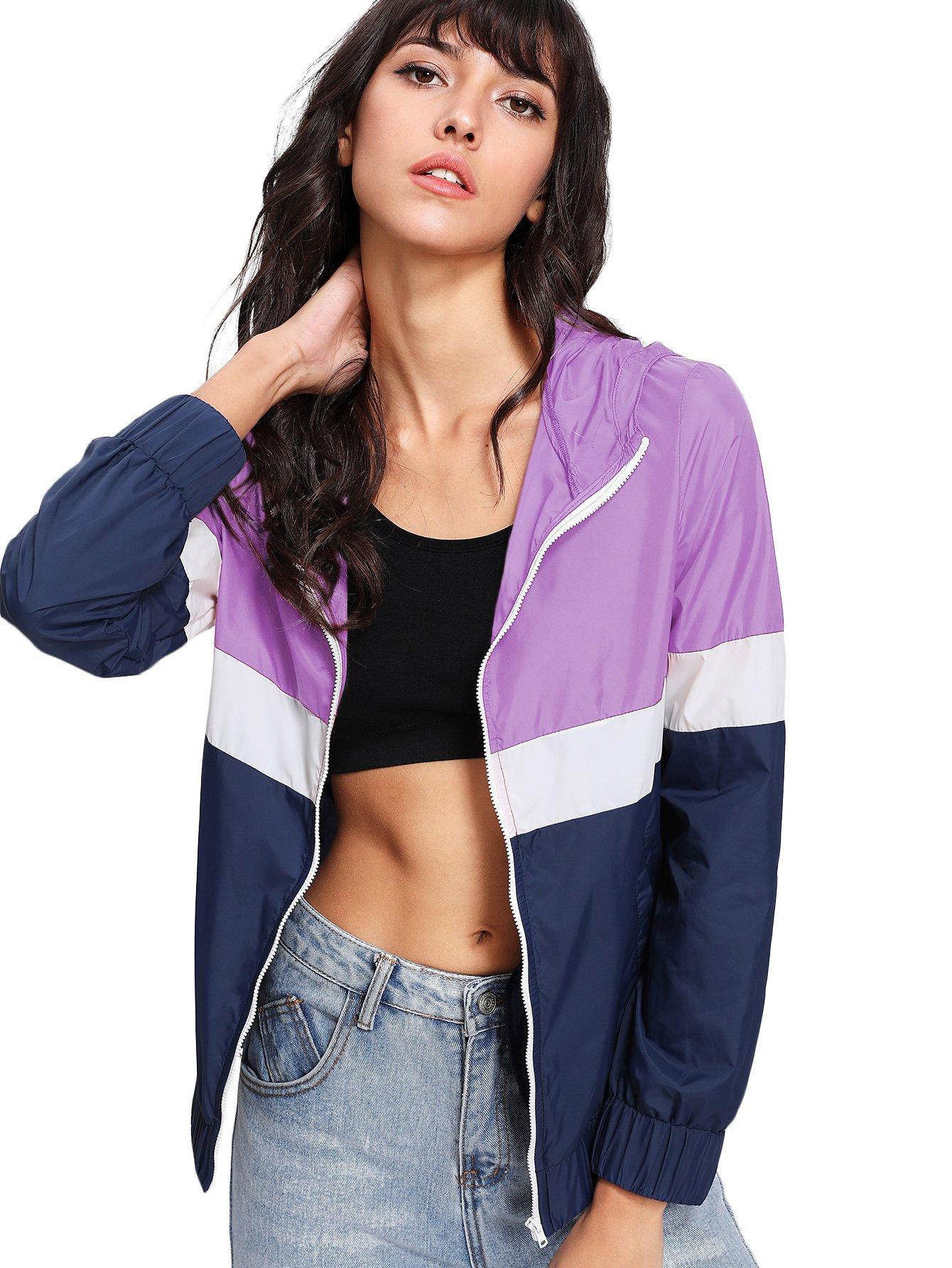 Floerns Women's Color Block Hooded Casual Thin Windbreaker jacket Blue Purple L
