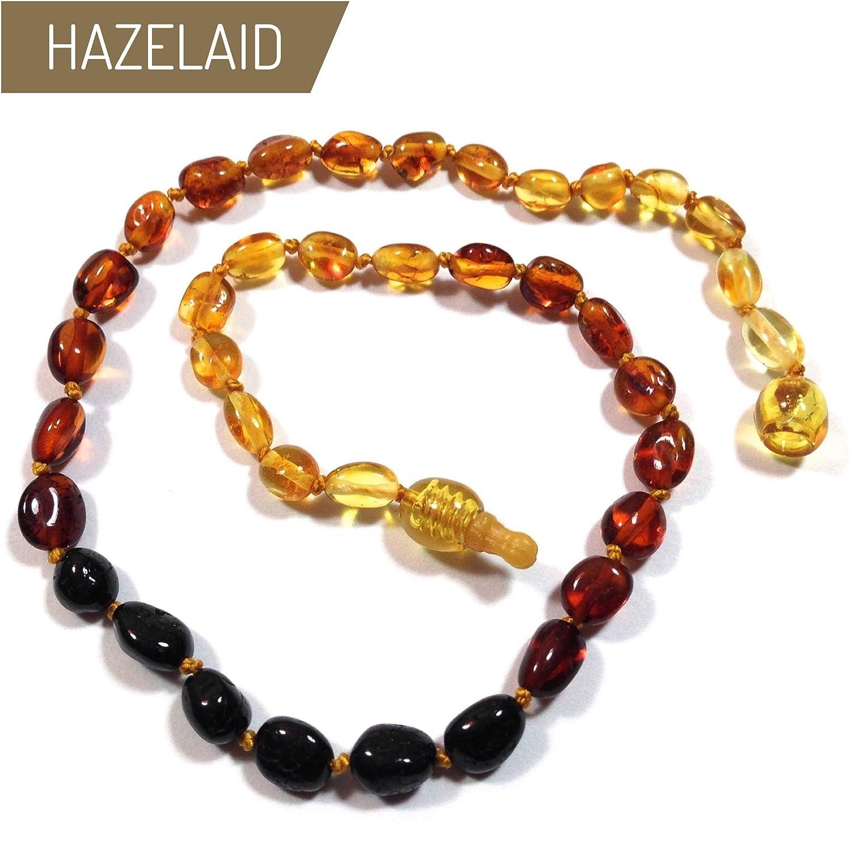 Hazelaid (TM) 14' Pop-Clasp Baltic Amber Rainbow Bean Necklace