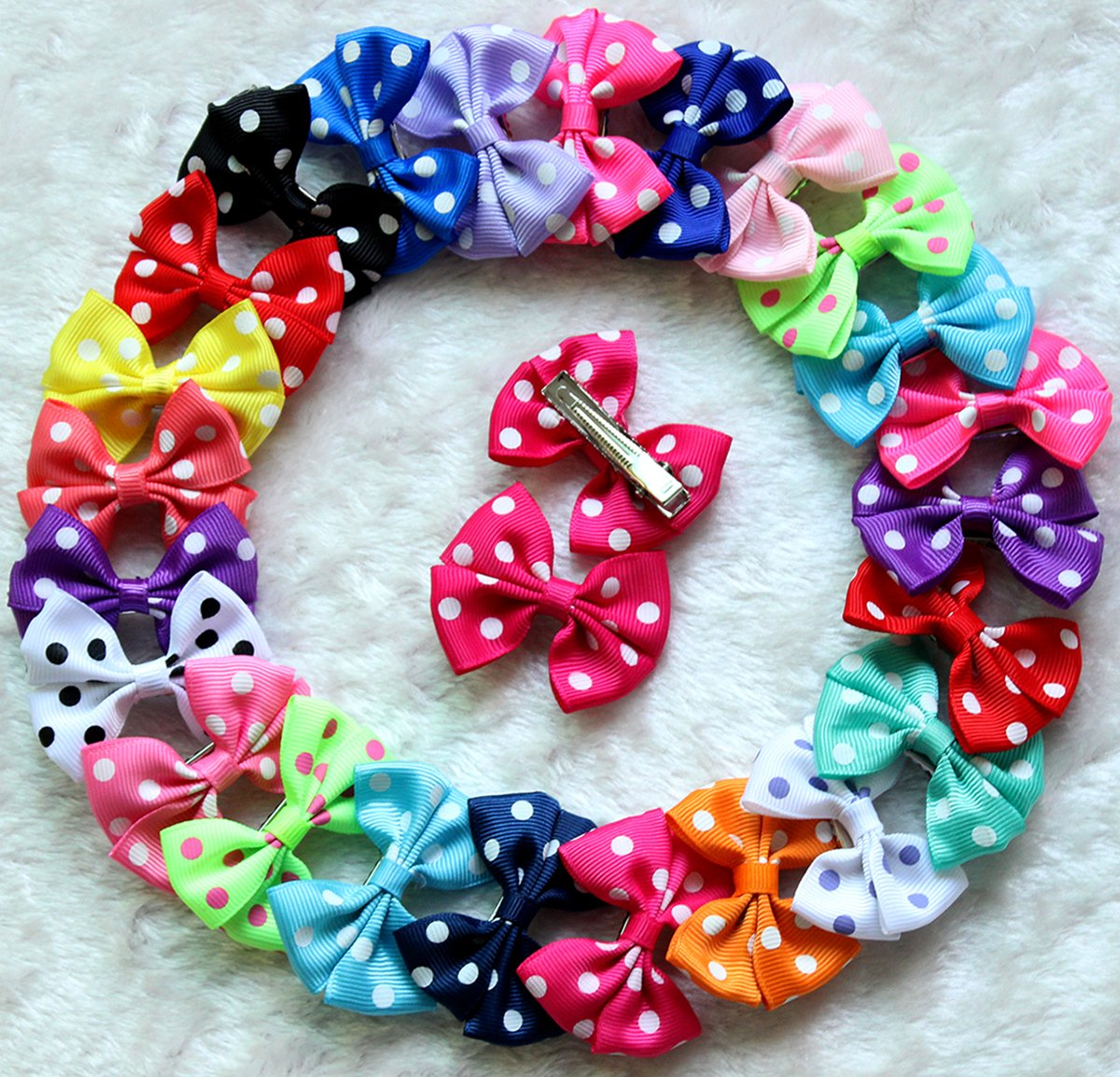 Yagopet 30pcs/15pairs Dog Hair Clips 2 inches Bowknot Bows Dog Topknot Bows Polka Dots Cute Dog Pet Hair Clips Cute Dog Hair Bows Pet Grooming Products Mix Colors Dog Hair Bows Topknot Alloy Clips
