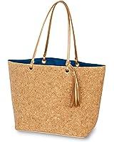 Mud Pie 8613302N Rose Gold Glitter Carlton Cork Tote Beach Bag Navy