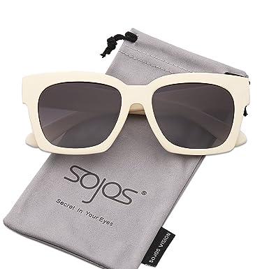 SojoS Schick Klassische Retro Dicke Rechteckig Polarisiert Sonnenbrille Damen Herren SJ2027 mit Rosa Linse 8E3tXAVGD1
