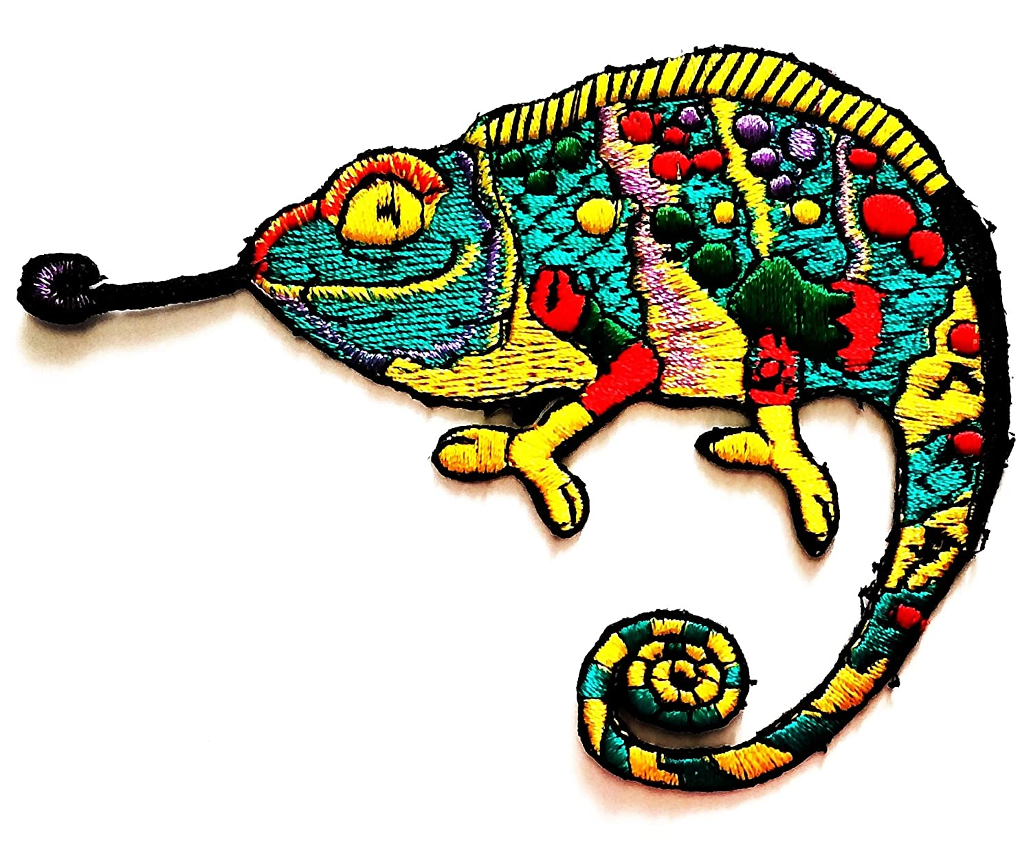 Nipitshop Patches Green Chameleon Lizard Animal Peace Flower Hipster Cartoon Kids Patch Embroidered Iron On Patch for Clothes Backpacks T-Shirt Jeans Skirt Vests Scarf Hat Bag