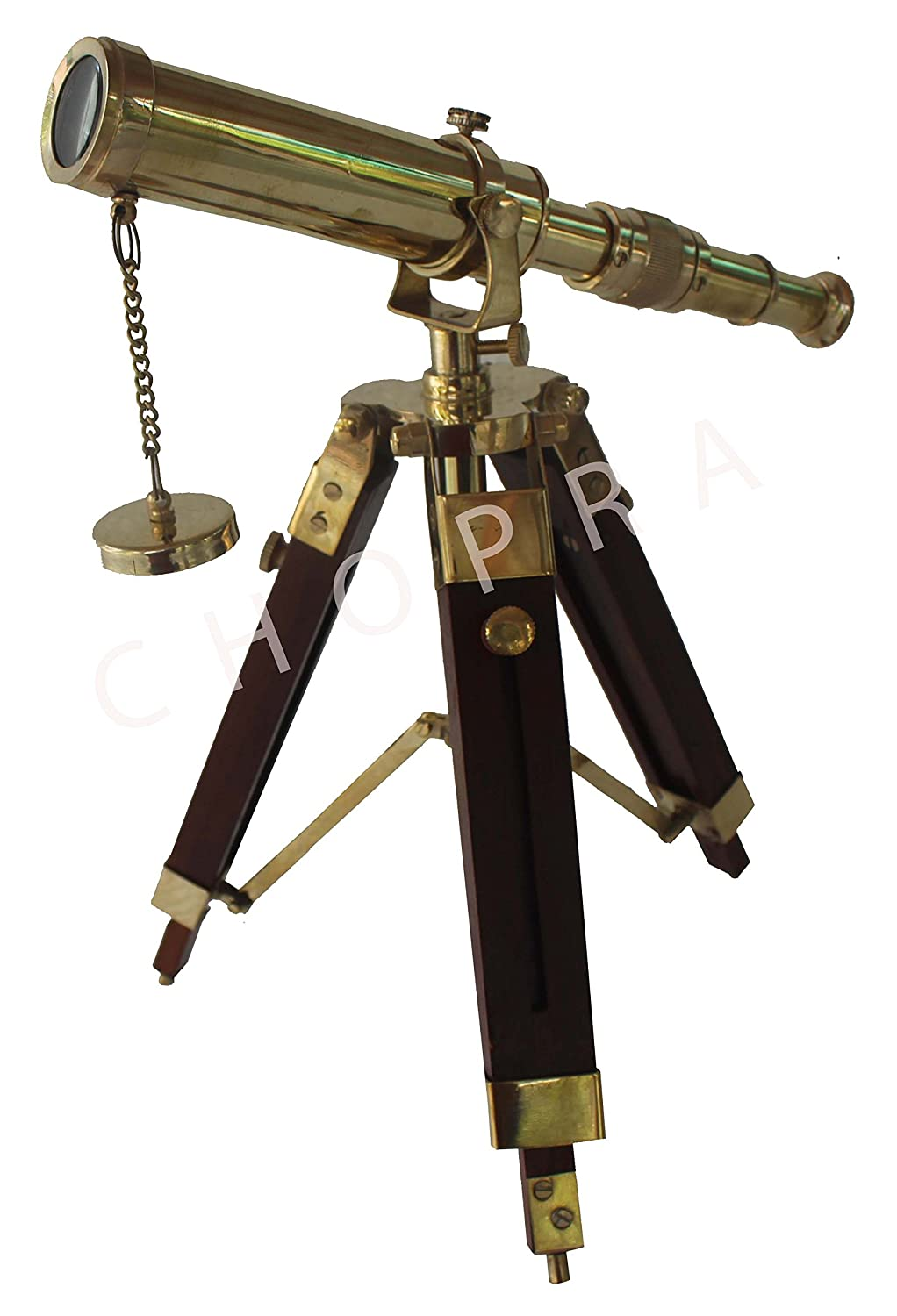 Chopra Vintage Antique Tripod Telescope Brass SB Nautical Telescopes Harbour master stand