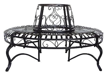 Admirable Backyard Expressions Patio Home Garden 911535 Black Metal Tree Surround Bench Evergreenethics Interior Chair Design Evergreenethicsorg