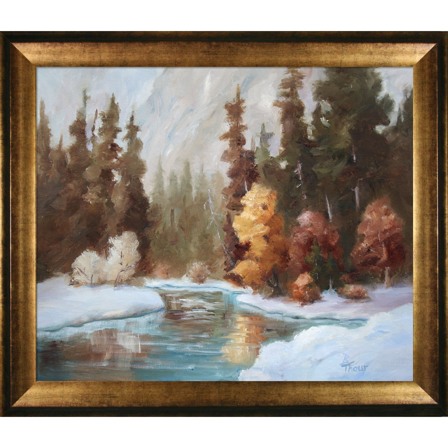 Antique Gold Finish overstockArt Artistbe Winter Landscape by Brenda Thour with Athenian Gold Frame