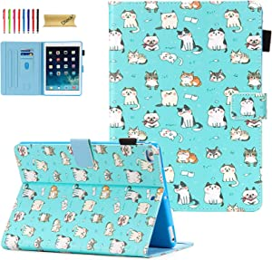 iPad 9.7 Case 2018/2017, iPad 6th/5th Gen Case with Pencil Holder, Dteck Premium Leather Folio Stand Case, Auto Wake/Sleep Magnetic Protective Cover for iPad 9.7 2018/2017, iPad Air 1/2, Cute Cats