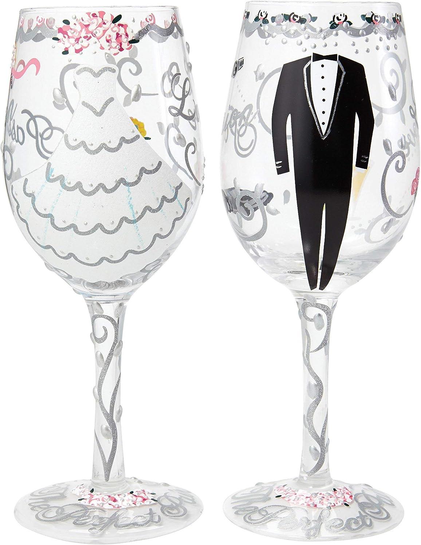 Lolita SETW-5522A Bride and Groom - Juego de 2 copas de vino pintado a mano para la novia y el novio