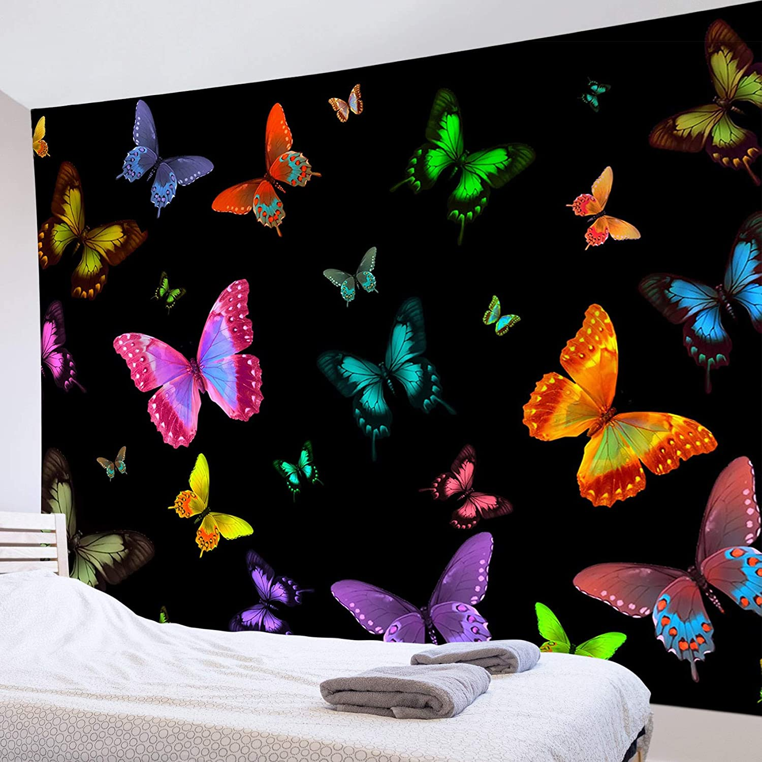 Trippy Butterfly Tapestry Wall Hanging Black Psychedelic Aesthetic Tapestry Blanket Colorful Moth Insect Wall Decor Wall Art for Teen Girls Living Room Bedroom College Dorm 60W x 40H