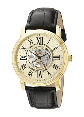 8e2e1f2b4 Amazon.com: Stuhrling Original Men's 1077.333531 Classic Delphi Venezia Automatic  Skeleton Stainless Steel Watch with Leather Band: Watches