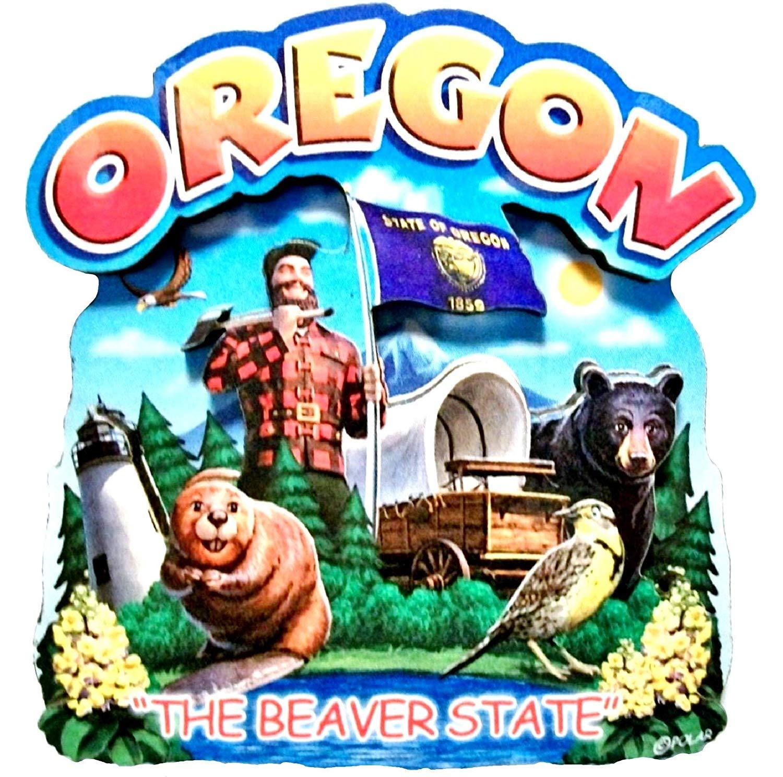 Oregon State Montage Wood Fridge Magnet 2