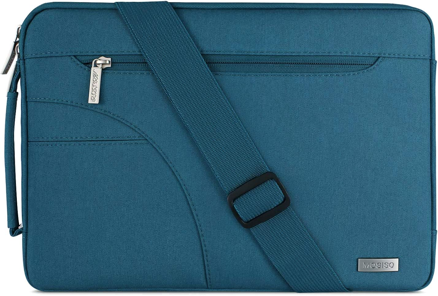 MOSISO Laptop Shoulder Bag Compatible with 2019 MacBook Pro 16 inch, 15 15.4 15.6 inch Dell Lenovo HP Asus Acer Samsung Sony Chromebook, Polyester Briefcase Sleeve with Side Handle, Deep Teal