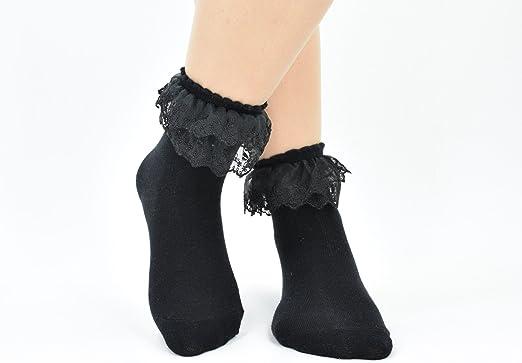 2 Pairs Flower Girls White Ruffle Lace Socks Trim Frilly School Socks 1-10 years