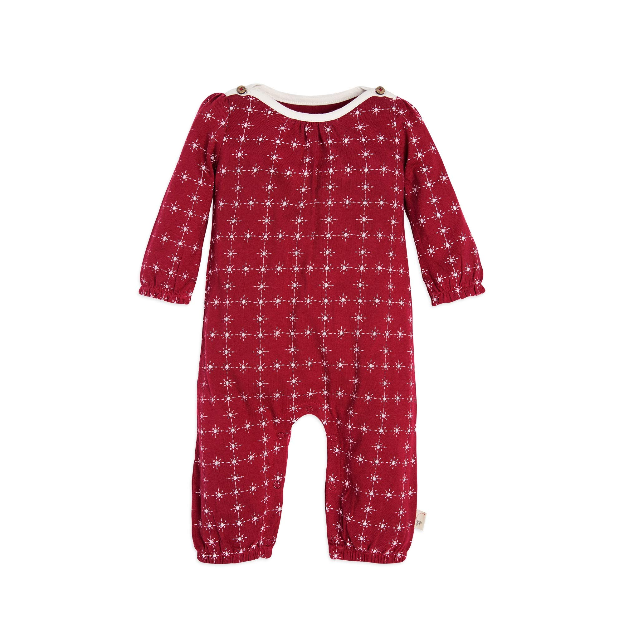 Burt's Bees Baby Girls Romper Jumpsuit, Long Sleeve One-Piece Coverall, 100% Organic Cotton, Cranberry North Star, 18 Months