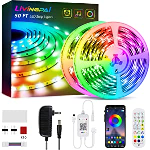 50ft Led Strip Lights, Livingpai Color Changing LED Light Strips with Music Sync, Remote, Built-in Mic, Bluetooth App Control, LED Lights for Bedroom, Party, Kitchen, Home