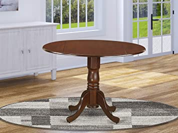 on sale ea024 5c454 East West Furniture DLT-MAH-TP Round Table with Two 9-Inch Drop Leaves,  Mahogany Finish