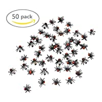 "Koogel Fake Flies Simulated Insect Joke Toys Prank Toy Flies Toy Figure 0.6"" Halloween Party Supplies 50Pcs"
