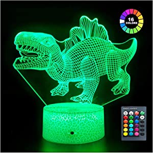 Menzee Dinosaur Toys for Boys Night Light with Remote & Smart Touch 7 Colors + 16 Colors Changing Dimmable Walking Dino Toys Tyrannosaurus Toy Gift for Boys & Girls 3 4 5 6 7 8 9 Year Old