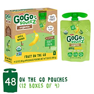 GoGo squeeZ Organic Applesauce on the Go, Apple Banana, 3.2 Ounce (48 Pouches), Gluten Free, Vegan Friendly, Healthy Snacks, Unsweetened Applesauce, Recloseable, BPA Free Pouches