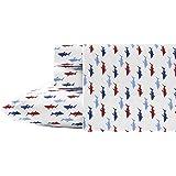 Nautica Costazul - Juego de sábanas de percal de algodón, Doble, Color Azul y Rojo, Cabaña, Azul/Rojo, Individual, 1, 1