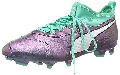5a5315840619 Puma Men's ONE 3 IL LTH FG Footbal Shoes Purple (Color Shift-Biscay Green