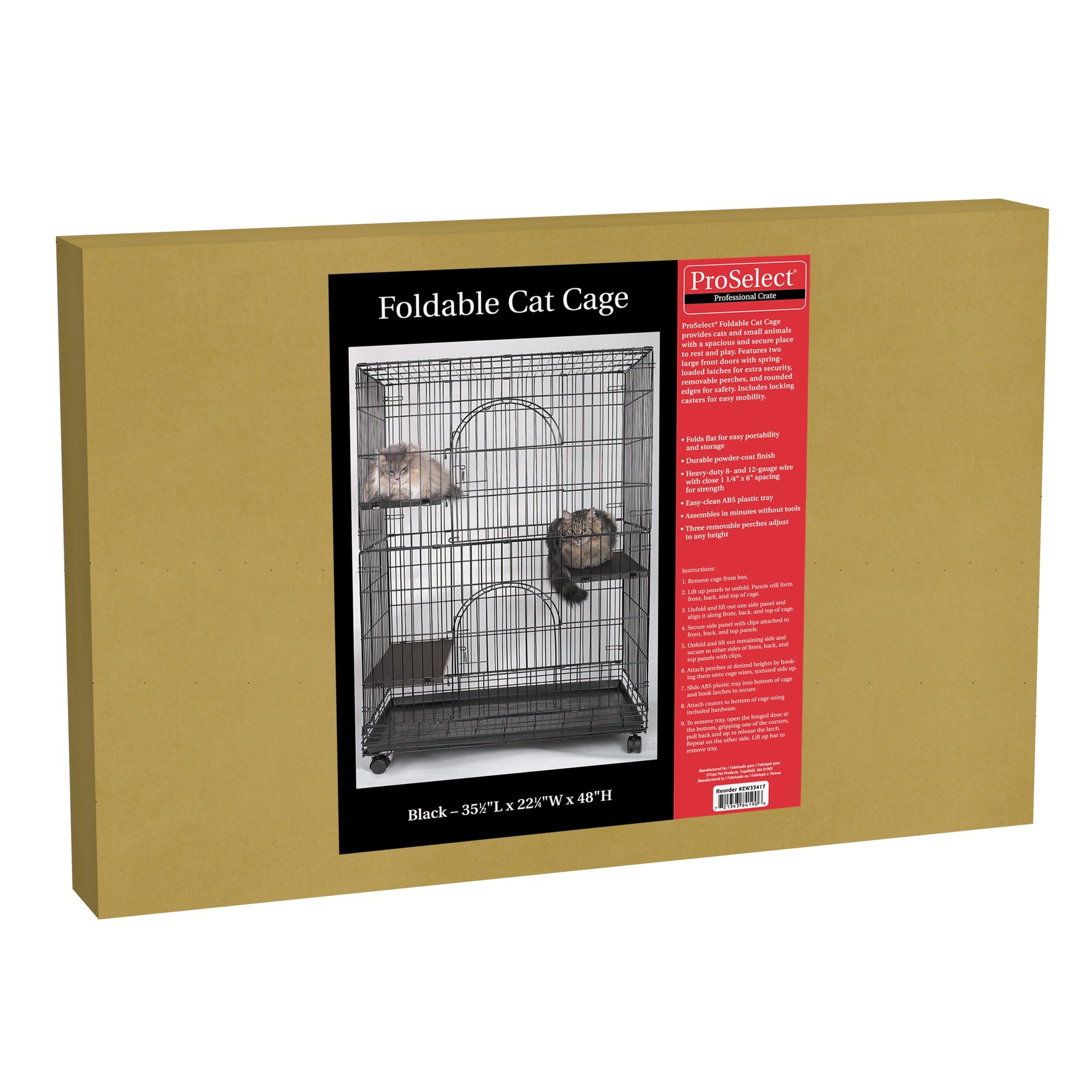 ProSelect Foldable Cat Cages 48'' High-Black by Pro Select
