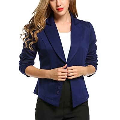 ACEVOG Women's Long Sleeve Solid Casual Work Office Slim One Button Short Blazer