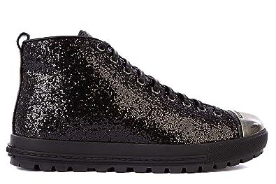 307cb2d9eb1e Miu Miu women s shoes high top leather trainers sneakers black UK size 6.5  5T8875 3O22 F0002