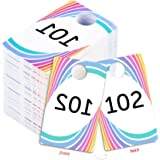 Live Sale Plastic Tags, 001-999 Number Series, Reusable Normal and Reverse Mirror Image Hanger Cards, Select a Set of 100 Numbers, (101-200)